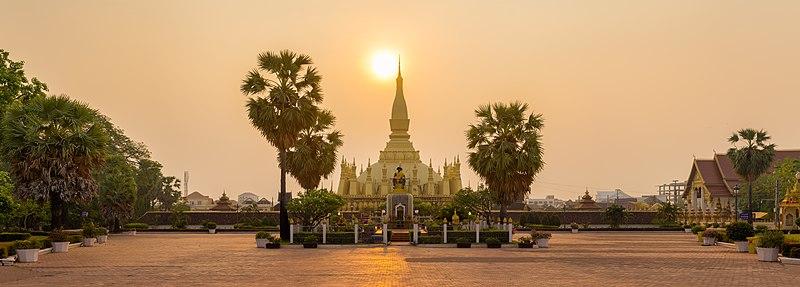 File:Pha That Luang Sunrise Panorama BLS.jpg
