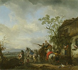 A hunting party halting at an inn