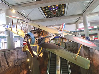 Frank Luke - A SPAD XIII painted to represent the one flown by Frank Luke, Jr. The plane is approximately 80% original parts from several aircraft. It is one of five surviving today and is on display in Terminal 3 of Phoenix's Sky Harbor Airport.