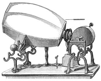 Phonautograph - An early phonautograph (1859). The barrel is made of plaster of paris.