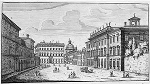 Giovanni Filippo Apolloni - The Piazza dei Santi Apostoli in Rome in 1665. The large building on the right is the Palazzo Chigi where Apolloni was a member of the household from 1668 until his death in 1688