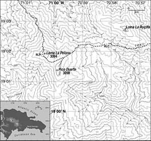 Pico Duarte - Topographical map of the Pico Duarte massif and its location within Hispaniola