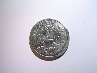 Travail, famille, patrie - Reverse of the two franc coin of 1943, on which the motto appears.
