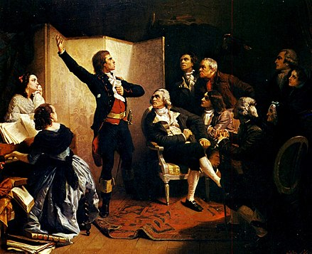 Rouget de Lisle, composer of the Marseillaise, sings it for the first time at the home of Dietrich, Mayor of Strasbourg (Musee historique de Strasbourg, 1849 painting by Isidore Pils) Pils - Rouget de Lisle chantant la Marseillaise.jpg