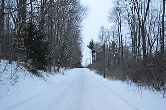 East Fallowfield Township, Crawford County, Pennsylvania - Snowy road through woodlands east of Hartstown