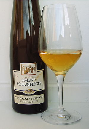 Pinot gris - A Pinot gris Vendange Tardive from Alsace, i.e., a sweet late harvest wine.