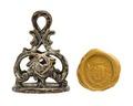 Pitschaft i silver med graverad vapensköld, 1700-tal - Hallwylska museet - 110329.tif