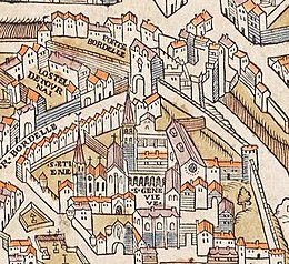 Plan de Paris vers 1550 porte Bordelle.jpg