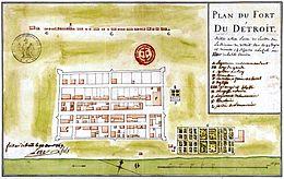 Plan du fort Detroit - Gaspard-Joseph Chaussegros de Lery - 1749.jpg