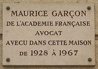 Plaque Maurice Garçon, 10 rue de l'Éperon, Paris 6.jpg