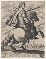 Plate 1- Emperor Julius Caesar on Horseback, from ' The First Twelve Roman Caesars', after Tempesta MET DP857126.jpg