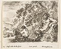 Plate 23- a satyr sitting against a tree to right and holding a flute in his right hand, a child playing with a goat to left, from 'Diversi capricci' MET DP817349.jpg