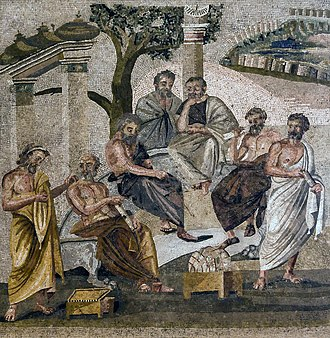 History of Animals - Aristotle spent many years at Plato's academy in Athens. Mosaic, 1st century, Pompeii