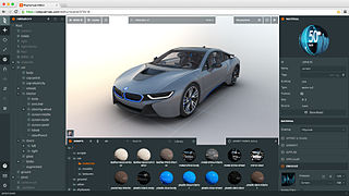 Screenshot of a PlayCanvas Editor with loaded BMW i8 Scene as example.