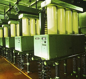 Mercury-arc valve - Mercury arc valves of ASEA design, with four anode columns in parallel, in the HVDC Inter-Island scheme in New Zealand.