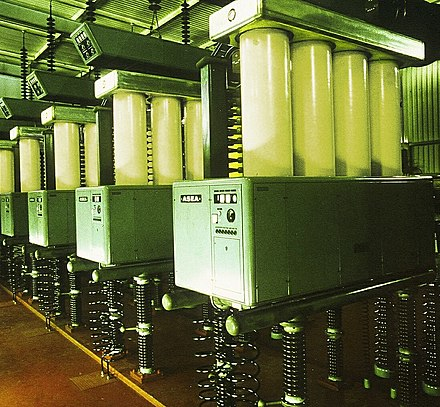 Mercury arc valves of ASEA design, with four anode columns in parallel, in the HVDC Inter-Island scheme in New Zealand. Pole 1 mercury arc valves.jpg