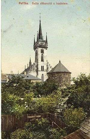 English: The church tower in Polička where Boh...