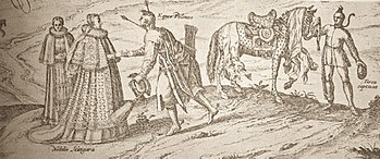 Late-16th-century etching of a Polish cavalryman, his horse, a Turkish captive and two Hungarian noblewomen
