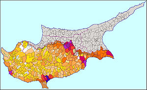 Demographics of Cyprus - Population map of Cyprus. Darker colors represent more residents.