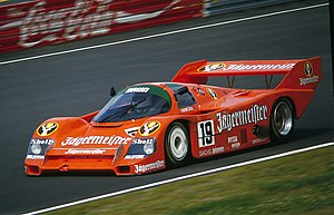 Porsche in motorsport - Porsche 956 and 962C, like this in Jägermeister livery, won the 24 Hours of Le Mans six years in a row in the 1980s.