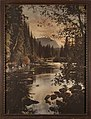 """Possibly Skykomish River with Mt Index in the background titled """"Evening in the Cascades"""", Washington, 1923 (WASTATE 2962).jpeg"""