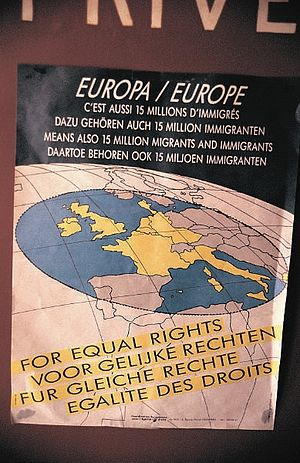 Poster about migrant rights in Europe