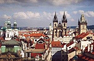 Vy över Prag, sett från Klementinumtornet.