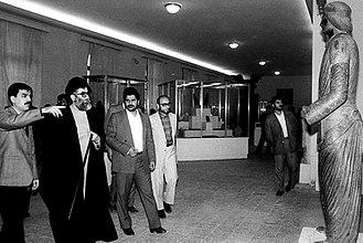 Statue, National Museum of Iran 2401 - President Ali Khamenei looks towards the Statue; Reopening of National Museum of Iran, 8 February 1987
