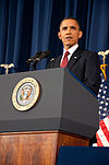 President Barack Obama speaking on the military intervention in Libya at the National Defense University 11