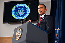 President Barack Obama speaking on the military intervention in Libya at the National Defense University 9