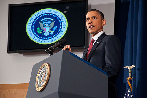 Former President Barack Obama speaking on the military intervention in Libya at the National Defense University. President Barack Obama speaking on the military intervention in Libya at the National Defense University 9.jpg