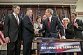 President George W. Bush shakes hands with Congressman Peter King, R-N.Y..jpg