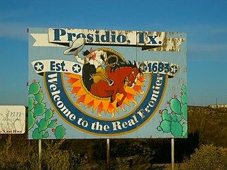 Presidio, Texas - Signpost outside the city of Presidio, Texas