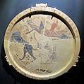 Produz. cicladica, piatto con chimera e bellerofonte su pegaso, 650 ac ca., da artemision di thasos, grecia (m. archeol. di Thasos).JPG