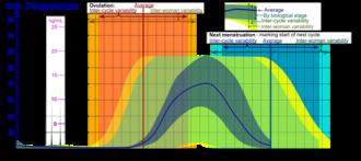Catamenial epilepsy - Image: Progesterone during menstrual cycle