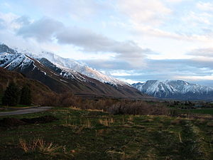 Utah Valley - Part of the Wasatch Range forming the Utah Valley.