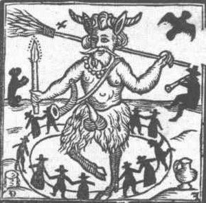 Puck (mythology) - Illustration from the title page of Robin Goodfellow: His Mad Pranks and Merry Jests (1629)