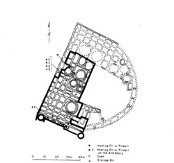 An archaeological map of Pueblo del Arroyo marking the locations of major structures