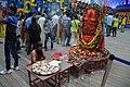 Pujari Worships Shiva Linga and Yoni - Durga Puja Pandal Area - Chetla Agrani Club - Kolkata 2015-10-21 6410.JPG