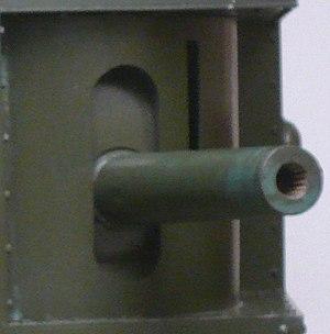 QF 6-pounder 6 cwt Hotchkiss - Closeup of Mk I gun in Mk V tank at Imperial War Museum London