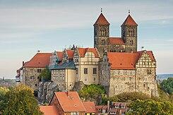 De abdij van Quedlinburg in de Duitse deelstaat Saksen-Anhalt