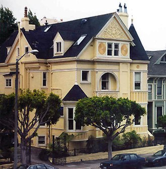 Painted ladies - The C. A. Belden House, a Queen Anne Victorian in the Pacific Heights section of San Francisco on Gough Street between Clay and Washington streets. The house is on the National Register of Historic Places.