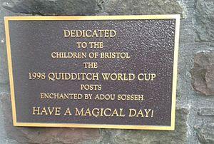 Quidditch - Dedication plaque outside the Bristol Royal Hospital for Children