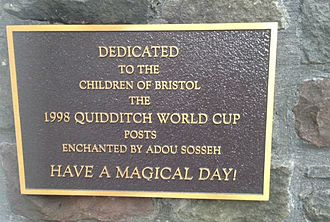 Quidditch - Dedication plaque outside the Bristol Royal Hospital for Children