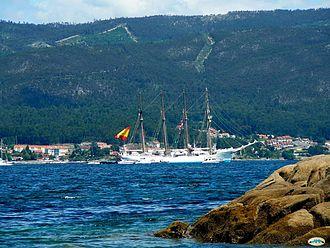 Rías Baixas - A four-masted schooner moored in the Ría de Pontevedra