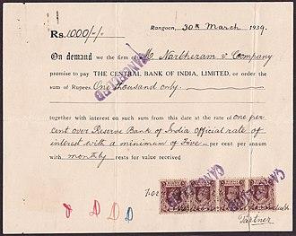 Negotiable instrument - A 1939 promissory note, Rangoon, Burma.