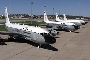 45th Reconnaissance Squadron - The 45th Reconnaissance Squadron's RC-135 Cobra Ball are brought together on the flightline at Offutt Air Force Base, Nebraska. These aircraft are rarely seen in the same place at the same time due to its worldwide reconnaissance missions.