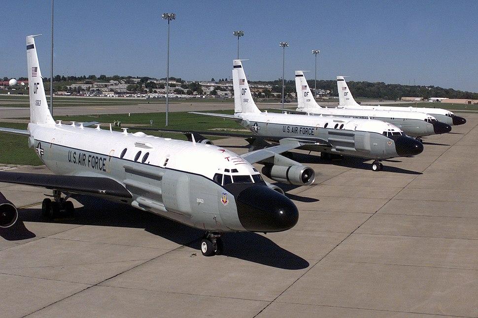 RC-135 Cobra Ball aircraft parked at Offutt