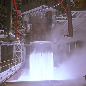 RD-180 - RD-180 test firing at the Marshall Space Flight Center Advanced Engine Test Facility, November 4, 1998