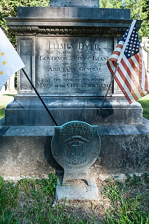 Elisha Dyer Jr. - Elisha Dyer Jr's grave at Swan Point Cemetery in Providence